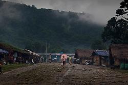 A general view of Woi Chyai Internal Displacement People refugee camp in Laiza village close to the China border, Myanmar on July 22, 2012. According to KIO (Kachin Independence Organization) sources around 50000 Kachin people live as refugees in those camps.