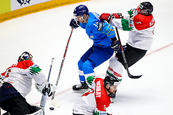 Bence Balizs of Hungary, Dmitri Shevchenko of Kazakhstan and Bence Sziranyi of Hungary during ice hockey match between Kazakhstan and Hungary at IIHF World Championship DIV. I Group A Kazakhstan 2019, on May 5, 2019 in Barys Arena, Nur-Sultan, Kazakhstan. Photo by Matic Klansek Velej / Sportida