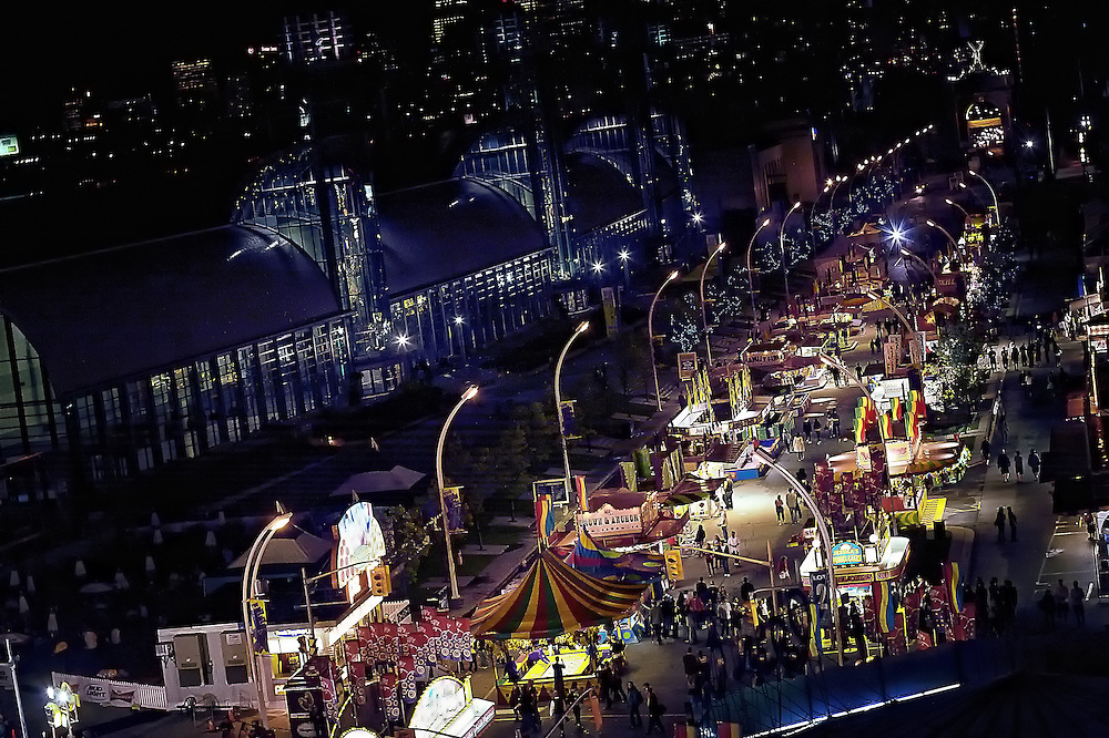 High angle image of the Canadian National Exhibition (CNE) at night.<br />