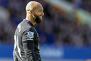 Tim Howard (Everton) smiles towards the end of the Barclays Premier League match between Everton and Norwich City at Goodison Park, Liverpool, England on 15 May 2016. Photo by Mark P Doherty.