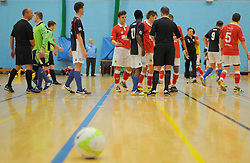 Bristol City Futsal shake hands with the other players after the final whistle.- Photo mandatory by-line: Nizaam Jones - Mobile: 07583 387221 - 02/11/2014 - SPORT - Futsal - Gloucester - Gloucester University - v BCFC Futsal- Sport