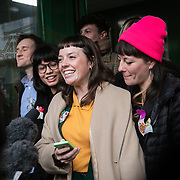 Lyndsay Burtonshaw of he Stansted 15 reads out a statement to the media and celebrate after sentencing at Chelmsford Crown court, 6th of February 2019, Chelmsford, United Kingdom. The group of fifteen activists stopped a Home Office deportation charter flight in Stansted in 2017. The activists were charged under the terrorism law and 12 were sentenced community service and 3 were sentenced suspended 9 months prison sentences.