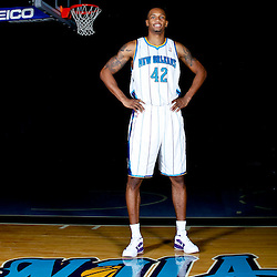 December 14, 2011; New Orleans, LA, USA; New Orleans Hornets forward Lance Thomas (42) poses for a photo during Media Day at the New Orleans Arena.   Mandatory Credit: Derick E. Hingle-US PRESSWIRE