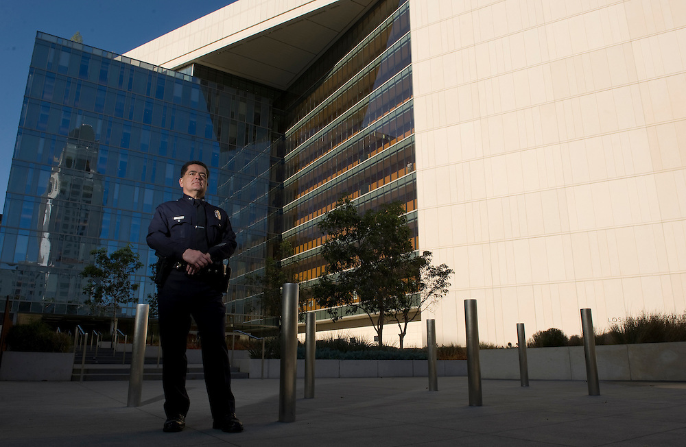 "Los Angeles Deputy Police Chief Jose Perez in front of headquarters, where he oversaw the department's handling of the ""Occupy"" movement's removal from City Hall Park in 2011."