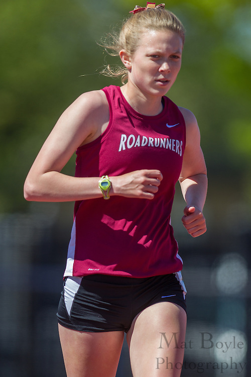 Ramapo College's Siobhan O'Brien competes in the women's 5000 meter at the NJAC Track and Field Championships at Richard Wacker Stadium on the campus of  Rowan University  in Glassboro, NJ on Saturday May 4, 2013. (photo / Mat Boyle)