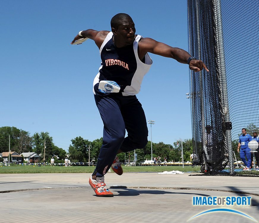 Jun 13, 2008; Des Moines, IA; Yemi Ayeni of Virginia was second in the discus at 195-2 (59.50m) in the NCAA Track & Field Championships at Drake Stadium.