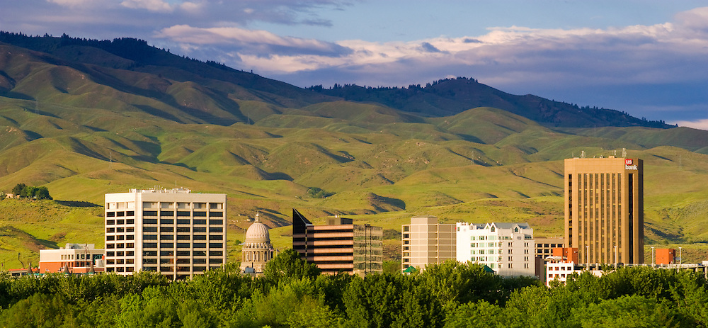 Boise, Idaho. Skyline with foothills beyond in the spring.