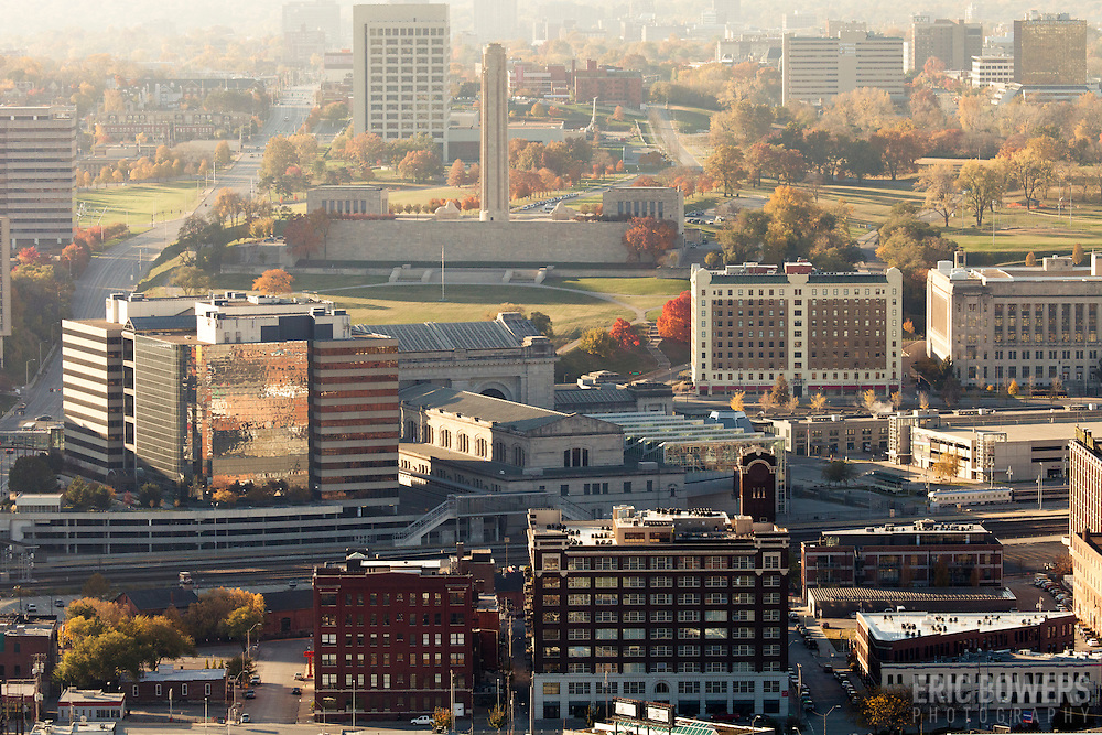View of Kansas City's Liberty Memorial World War One monument and museum from Power and Light Building in downtown Kansas City, MO. Crosroads District area in foreground.