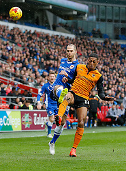 Matthew Connolly of Cardiff City is challenged by Rajiv van La Parra of Wolverhampton Wanderers - Photo mandatory by-line: Rogan Thomson/JMP - 07966 386802 - 28/02/2015 - SPORT - FOOTBALL - Cardiff, Wales - Cardiff City Stadium - Cardiff City v Wolverhampton Wanderers - Sky Bet Championship.