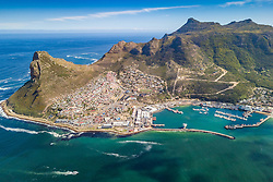 April 20, 2018 - Cape Town, Western Cape, South Africa - Aerial panoramic view of Hout Bay Harbour, yachts and hillside town, Cape Town. (Credit Image: © Amazing Aerial via ZUMA Wire)