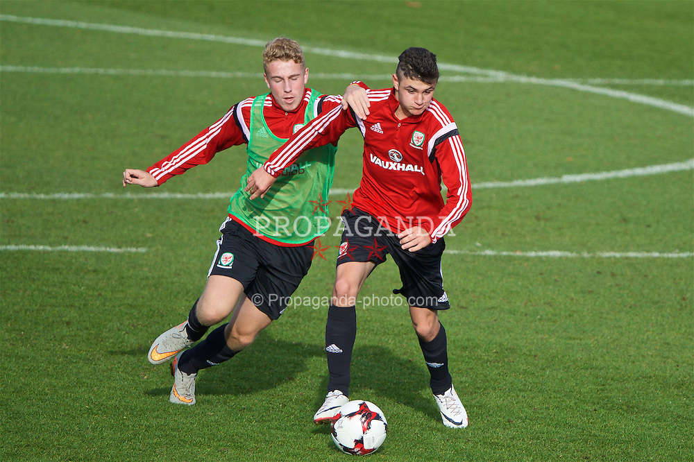 EDINBURGH, SCOTLAND - Monday, October 31, 2016: Wales' Jamie Taylor [L] and Steffan Bulkeley [R] during a training session at ORIAM during the Under-16 2016 Victory Shield tournament. (Pic by David Rawcliffe/Propaganda)