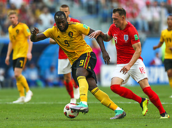July 14, 2018 - Saint Petersburg, Russia - Romelu Lukaku (L) of the Belgium national football team and Phil Jones of the England national football team vie for the ball during the 2018 FIFA World Cup Russia 3rd Place Playoff match between Belgium and England at Saint Petersburg Stadium on July 14, 2018 in St. Petersburg, Russia. (Credit Image: © Igor Russak/NurPhoto via ZUMA Press)