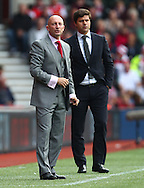 Picture by Paul Terry/Focus Images Ltd +44 7545 642257<br /> 28/09/2013<br /> Mauricio Pochettino, Manager ( R ) of Southampton and Ian Holloway, Manager of Crystal Palace during the Barclays Premier League match at the St Mary's Stadium, Southampton.