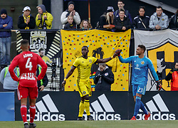 November 4, 2018 - Columbus, OH, U.S. - COLUMBUS, OH - NOVEMBER 04: Columbus Crew defender Jonathan Mensah (4) and Columbus Crew goalkeeper Zack Steffen (23) celebrate after good defensive play in the MLS eastern conference semifinals game between the Columbus Crew SC and the New York Red Bulls on November 04, 2018 at Mapfre Stadium in Columbus, OH. The Crew won 1-0. (Photo by Adam Lacy/Icon Sportswire) (Credit Image: © Adam Lacy/Icon SMI via ZUMA Press)