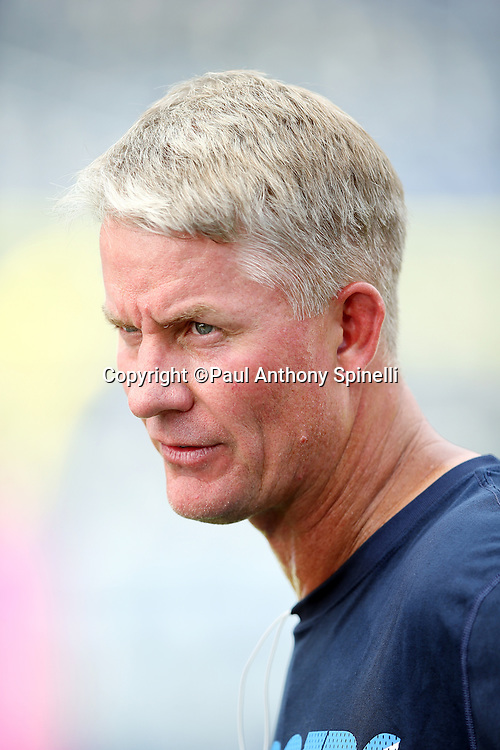 San Diego Chargers head coach Mike McCoy has a conversation before the 2015 NFL week 5 regular season football game against the Pittsburgh Steelers on Monday, Oct. 12, 2015 in San Diego. The Steelers won the game 24-20. (©Paul Anthony Spinelli)