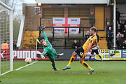 Cambridge No 22 Ben Williamson scores but he is offside in the Sky Bet League 2 match between Cambridge United and Carlisle United at the R Costings Abbey Stadium, Cambridge, England on 16 April 2016. Photo by Nigel Cole.