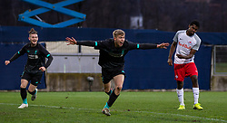 GRÖDIG, AUSTRIA - Tuesday, December 10, 2019: Liverpool's substitute Jack Bearne (C) celebrates after scoring the winning third goal, with the last kick of the game, during the final UEFA Youth League Group E match between FC Salzburg and Liverpool FC at the Untersberg-Arena. Liverpool's won 3-2. (Pic by David Rawcliffe/Propaganda)