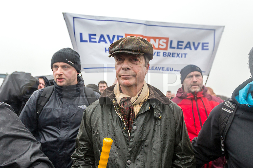 © Licensed to London News Pictures. 16/03/2019. Sunderland UK. Nigel Farage is leading March to Leave this morning starting from Ryhope beach in Sunderland making a 270 mile walk to London, the march is said to be a peaceful protest to show the level of popular dissatisfaction with the way the westminster elite are betraying the will of the people. Photo credit: Andrew McCaren/LNP