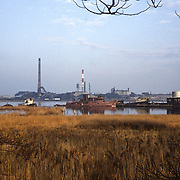 1987 panorama of east end of Boatyard, with tugs Bloxom and Bayou Plaquemine (left).