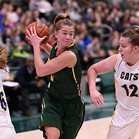 5th year forward Charlotte Kot (1) of the Regina Cougars in action during the Women's Basketball home game on January  20 at Centre for Kinesiology, Health and Sport. Credit: /Arthur Images