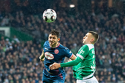 BREMEN, Dec. 8, 2018  Duesseldorf's Matthias Zimmermann (L) vies for header with Bremen's Maximilian Eggestein during a German Bundesliga match between SV Werder Bremen and Fortuna Duesseldorf, in Bremen, Germany, on Dec. 8, 2018. Duesseldorf lost 1-3. (Credit Image: © Kevin Voigt/Xinhua via ZUMA Wire)