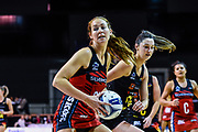 Kate Beveridge of the Tactix takes a ball from Katherine Levien of the Magic during the ANZ Premiership Netball match, Tactix V Magic, Horncastle Arena, Christchurch, New Zealand, 6th June 2018.Copyright photo: John Davidson / www.photosport.nz