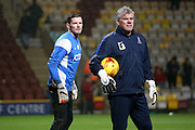Bradford City goalkeeper Ben Williams and each Lee Butler during the Sky Bet League 1 match between Bradford City and Barnsley at the Coral Windows Stadium, Bradford, England on 26 January 2016. Photo by Simon Davies.