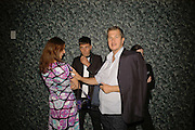 Karla Otto, Hedi Slimane and Mario Testino, EXHIBITION OF WORK BY THOMAS DEMAND ( SUPPORTED BY WALLPAPER) AT THE SERPENTINE GALLERY AND AFTERWARDS AT THE Rochelle Canteen, Rochelle School<br />Arnold Circus. London E2. 5 JUNE 2006. ONE TIME USE ONLY - DO NOT ARCHIVE  © Copyright Photograph by Dafydd Jones 66 Stockwell Park Rd. London SW9 0DA Tel 020 7733 0108 www.dafjones.com