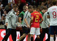 Football - 2018 / 2019 UEFA Nations League A - Group Four: England vs. Spain<br /> <br /> Luke Shaw (England) is carried off in a neckbrace and with an oxygen mask on at Wembley Stadium.<br /> <br /> COLORSPORT/DANIEL BEARHAM