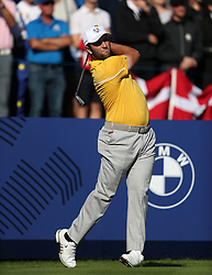 Team Europe's Jon Rahm during preview day four of the Ryder Cup at Le Golf National, Saint-Quentin-en-Yvelines, Paris. PRESS ASSOCIATION Photo. Picture date: Thursday September 27, 2018. See PA story GOLF Ryder. Photo credit should read: David Davies/PA Wire. RESTRICTIONS: Editorial use only. No commercial use.