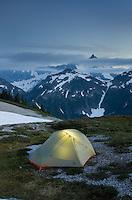 Backcountry camp on Hannegan Peak overlooking Mount Shuksan, North Cascades Washington