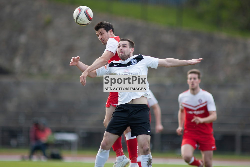 Steven McKay gets his head to the ball in the Edinburgh City v Brora Rangers Pyramid Play Off at Meadowbank Stadium in Edinburgh 25 April 2015<br /> <br /> (c) Russell G Sneddon / SportPix.org.uk