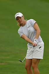30 Aug 2005<br /> <br /> Tracy Hanson chips on the 1st hole.<br /> <br /> State Farm Classic, LPGA Golf Tournament, Tuesday Practice, The Rail Golf Course, Springfield, IL