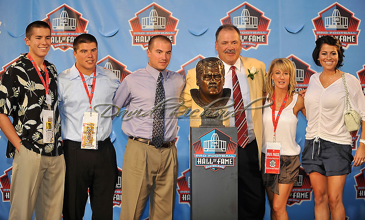 "Former Washington Redskins offensive lineman Russ Grimm was enshrined into the Pro Football Hall of Fame in Canton, Ohio, on August 7, 2010 at Fawcett Stadium..Grimm, a member of the 1980s offensive line called ""The Hogs"", went into the Hall with Rickey Jackson, Dick LeBeau, Floyd Little, John Randle, Jerry Rice and Emmitt Smith..Grimm is currently the Arizona Cardinals' assistant head coach, offensive line coordinator and run game coordinator..Photos by David Richard."