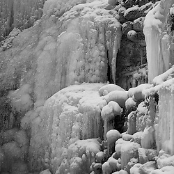 Winter 2012 In Switzerland, frozen Tobelbach Waterfall in Kuesnacht. <br />  <br /> The temperature stayed below zero  - 10 - 15 degrees for  several weeks. Some smaller lakes in the area like Greiffenseen and Pfaeffikersee frozen too this year.<br /> <br /> Images taken by Juerg Kaufmann.
