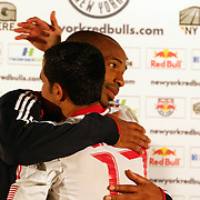 Thierry Henry, New York Red Bulls, is congratulated by team mate Tim Cahill  after his Man of the Match performance during the New York Red Bulls V Toronto FC  Major League Soccer regular season match at Red Bull Arena, Harrison. New Jersey. USA. 29th September 2012. Photo Tim Clayton