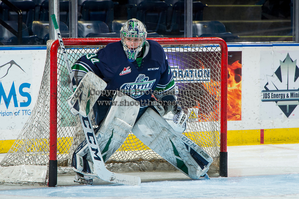 KELOWNA, BC - JANUARY 30: Cole Schwebius #34 of the Seattle Thunderbirds warms up in net against the Kelowna Rockets at Prospera Place on January 30, 2019 in Kelowna, Canada. (Photo by Marissa Baecker/Getty Images)