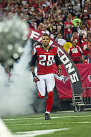 20 January 2013: Safety (28) Thomas DeCloud of the Atlanta Falcons enters the field during player introductions before the San Francisco 49ers 28-24 victory over the Falcons in the NFC Championship Game at the Georgia Dome in Atlanta, GA.