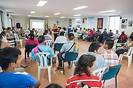 Florencia, Caquet&aacute;, Colombia - 21.09.2016        <br /> <br /> Assembly of mine victims and their relatives named &rdquo;Asociaci&oacute;n de minas antipersonles y Munici&oacute;n sin Explostar&rdquo; in a side building of the Catedral Nuestra Se&ntilde;ora de Lourdes in Florencia, the Colombian provincial capital of Caquet&aacute;. All civil war parties and also drug cartels use anti-person mines. Still new mines were laid and many regions of Colombia are haven&acute;t been cleared. <br /> <br /> Versammlung von Minenopfern und Angehoerigen &rdquo;Asociaci&oacute;n de minas antipersonles y Munici&oacute;n sin Explostar&rdquo; in einem Nebengebaeude der Catedral Nuestra Se&ntilde;ora de Lourdes in Florencia, der Hauptstadt der kolumbianischen Provinz Caquet&aacute;. Alle beteiligten Parteien des Buergerkriegs, ebenso wie die Drogenkartelle nutzten Anti-Personenminen. Nach wie vor werden Minen verlegt. Zahlreiche Regionen Kolumbiens sind nicht frei von Minen.<br /> <br /> Photo: Bjoern Kietzmann