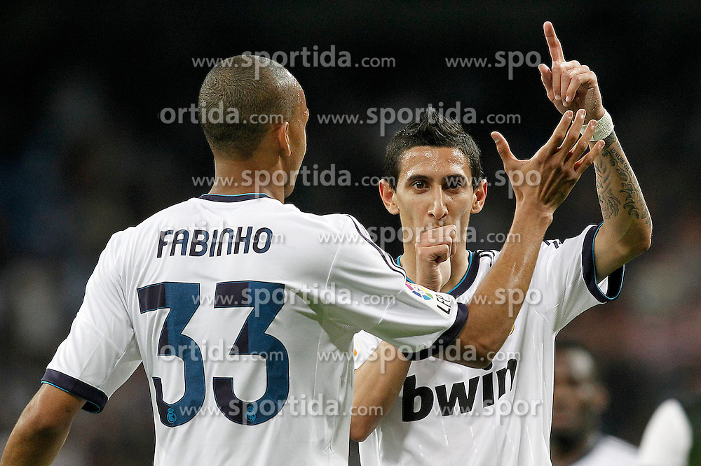 08.05.2013, Estadio Santiago Bernabeu, Madrid, ESP, Primera Division, Real Madrid vs FC Malaga, 36. Runde, im Bild Real Madrid's Fabinho (l) and Angel Di Maria celebrate goal // during the Spanish Primera Division 36th round match between Real Madrid CF and Malaga FC at the Estadio Santiago Bernabeu, Madrid, Spain on 2013/05/08. EXPA Pictures © 2013, PhotoCredit: EXPA/ Alterphotos/ Acero..***** ATTENTION - OUT OF ESP and SUI *****