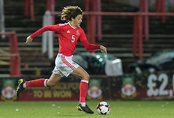 WREXHAM, WALES - Thursday, November 10, 2016: Wales' Ethan Ampadu in action against Greece during the UEFA European Under-19 Championship Qualifying Round Group 6 match at the Racecourse Ground. (Pic by Gavin Trafford/Propaganda)
