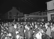 Image of public turn out for Fianna Fáil leader Charles Haughey touring West Cork during his 1982 general election campaign...04/02/1982.02/04/82.4th February 1982..Good Vibrations:..A crowd listens attentively to what Charles Haughey has to offer..