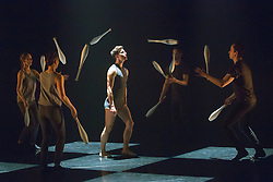 © Licensed to London News Pictures. 13/01/2015. London, England. Dancer Joe Bishop at the centre. Dress rehearsal of Gandini Juggling's new show 4 x 4 Ephemeral Architectures. Four classical dancers, choreographed by former Royal Ballet First Artist Ludovic Ondiviela, join four of Gandini's jugglers. World premiere at Linbury Studio Theatre, Royal Opera House, 13 to 15 January 2015. The show is part of the London International Mime Festival and is followed by a UK tour. Dancers: Kieran Stoneley, Kate Byrne, Erion O'Toole and Joe Bishop, jugglers: Kim Huynh, Sakari Männistö, Owen Reynolds and Kati Ylä-Hokkala. Photo credit: Bettina Strenske/LNP