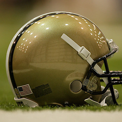 10 August 2009: The helmet of quarterback Drew Brees (not pictured) on the field during New Orleans Saints training camp at the team's indoor practice facility in Metairie, Louisiana.
