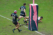 Tom Taylor (Section Paloise - PAU) scored a try, Clement Daguin (Stade Francais), Theo Millet (Stade Francais) during the French Championship Top 14 Rugby Union match between Stade Francais Paris and Pau on January 28, 2018 at Jean Bouin stadium in Paris, France - Photo Stephane Allaman / ProSportsImages / DPPI