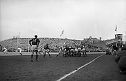 Springbok scrum half, DeVilliers 9, gets ball away from scrum, with Irish scrum half Young, on the extreme left, coming up,..Irish Rugby Football Union, Ireland v South Africa, Tour Match, Landsdowne Road, Dublin, Ireland, Saturday 10th April, 1965,.10.4.1965, 4.10.1965,..Referee- P G Brook, Rugby Football Union, ..Score- Ireland 9 - 6 South Africa, ..Irish Team, ..T J Kiernan,  Wearing number 15 Irish jersey, Full Back, Cork Constitution Rugby Football Club, Cork, Ireland,..P J McGrath,  Wearing number 14 Irish jersey, Right Wing, University college Cork Rugby Football Club, Cork, Ireland,  ..J C Walsh,  Wearing number 13 Irish jersey, Right Centre, University college Cork Rugby Football Club, Cork, Ireland,..M K Flynn, Wearing number 12 Irish jersey, Left Centre, Wanderers Rugby Football Club, Dublin, Ireland, ..K J Houston, Wearing number 11 Irish jersey, Left Wing, Bruff Rugby Football Club, Limerick, Ireland, and, Oxford University Rugby Footabll Club, Oxford, England, ..C M H Gibson, Wearing number 10 Irish jersey, Stand Off, Cambridge University Rugby Football Club, Cambridge, England, and, N.I.F.C, Rugby Football Club, Belfast, Northern Ireland,..R M Young, Wearing number 9 Irish jersey, Scrum Half, Queens University Rugby Football Club, Belfast, Northern Ireland,..S MacHale, Wearing number 1 Irish jersey, Forward, Landsdowne Rugby Football Club, Dublin, Ireland, ..K W Kennedy, Wearing number 2 Irish jersey, Forward, Queens University Rugby Football Club, Belfast, Northern Ireland,..R J McLoughlin, Wearing number 3 Irish jersey, Captain of the Irish team, Forward, Gosforth Rugby Football Club, Newcastle, England, ..W J McBride, Wearing number 4 Irish jersey, Forward, Ballymena Rugby Football Club, Antrim, Northern Ireland,..W A Mulcahy, Wearing number 5 Irish jersey, Forward, Bective Rangers Rugby Football Club, Dublin, Ireland,  ..M G Doyle, Wearing number 6 Irish jersey, Forward, University College Dublin Rugby Football Club, Dublin, Ireland,..N Murphy, We