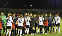February 20, 2019 - Sheffield, United Kingdom - The teams shake hands during the  FA Women's Championship football match between Sheffield United Women and Manchester United Women at the Olympic Legacy Stadium, on February 20th Sheffield, England. (Credit Image: © Action Foto Sport/NurPhoto via ZUMA Press)