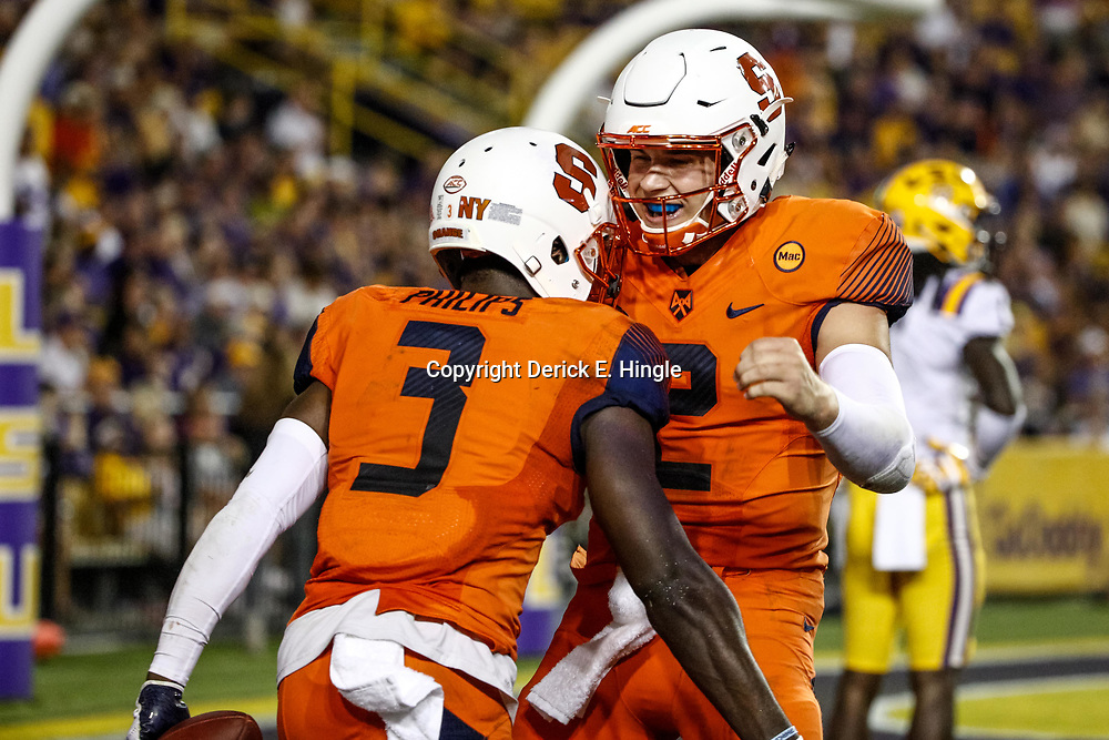 Sep 23, 2017; Baton Rouge, LA, USA; Syracuse Orange wide receiver Ervin Philips (3) celebrates with quarterback Eric Dungey (2) after a touchdown during the third quarter of a game against the LSU Tigers at Tiger Stadium. Mandatory Credit: Derick E. Hingle-USA TODAY Sports