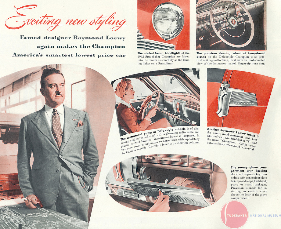 Advertising piece for 1942 Studebaker Champion featuring Raymond Loewy