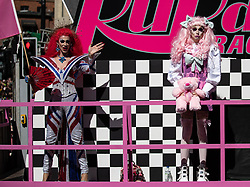 © Licensed to London News Pictures . 24/08/2019. Manchester, UK. RuPaul's Drag Race UK float . Manchester Gay Pride parade through the city centre . Manchester's Gay Pride festival , which is the largest of its type in Europe , celebrates LGBTQ+ life . Photo credit: Joel Goodman/LNP
